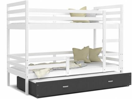 Etagenbett mit Gästebett Weiß Grau Rico 90x200