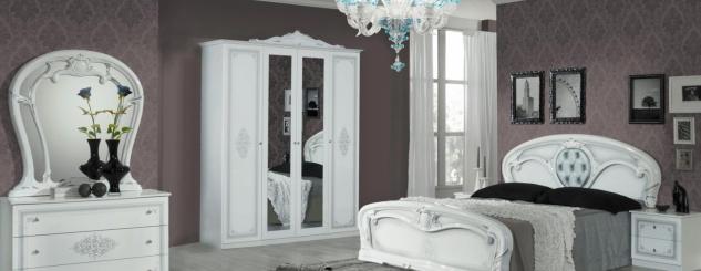 Barock Schlafzimmer Weiß Cristal mit 4-türigem Schrank