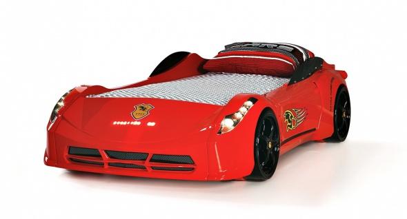 Cat Garage Autobett mit LED und Fernbedienung Rot