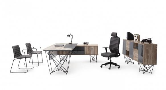 Ovali Büro Set 3-teilig Parantez Anthrazit Holzoptik