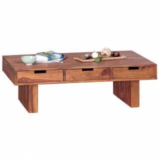 WOHNLING Couchtisch Massivholz Sheesham Design Wohnzimmer-Tisch 110 x 60 cm mit 6 Schubladen Landhaus-Stil Holztisch