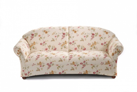 Sofa 2, 5-Sitzer Corona Baumwollgewebe, weiß Blumenmuster