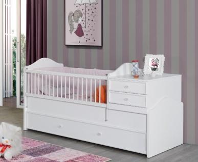 Babybett in Weiß Goldi mitwachsend 80x130-180