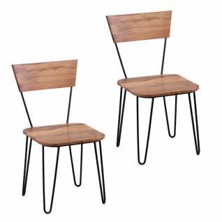 Akazie Massivholz 2er Set Esszimmerstühle Doppelpack Stühle