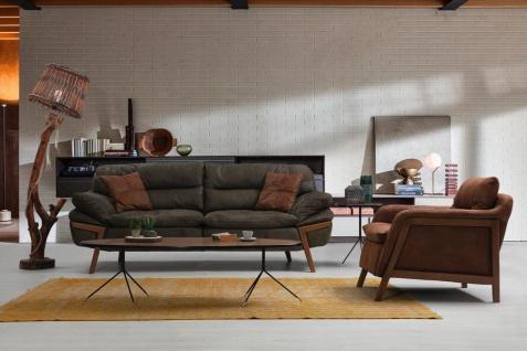 Couch Set Rosso 2-teilig in Wildlederoptik Cognac
