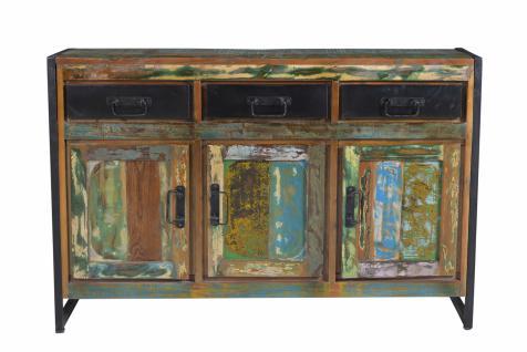 Sideboard Carisi 3-türig aus bunt lackiertem Altholz