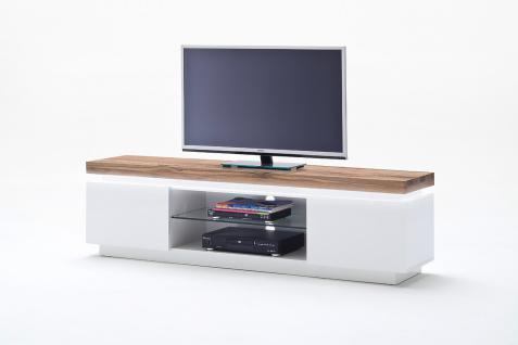 TV- Lowboard Yasmine 2-türig in Weiß Lack-Asteiche