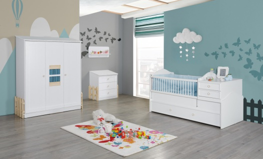 Babyzimmer Set Weiß Blau Homeland 4-teilig