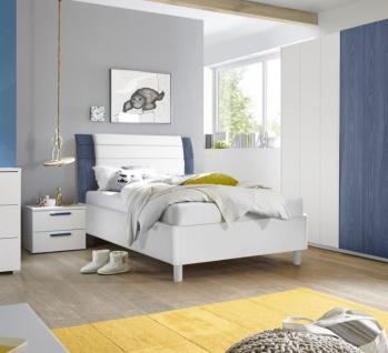 Design Jugendbett Space Kopfteil Blau 120x200