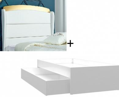 Almila Einzelbett 90x200 Elegant White mit Ausziehbett