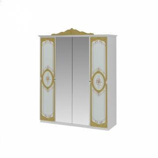 Kleiderschrank Barock Stil Julianna 4-türig in Weiß Gold
