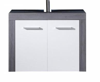 Waschbeckenschrank Colombo 2-türig in Silber/Weiß