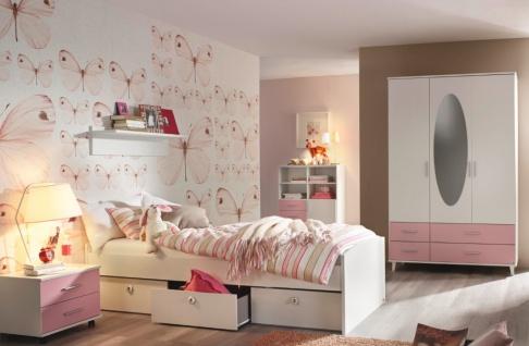Jugendzimmer komplett Weiß Rosa Set Aik 3-teilig