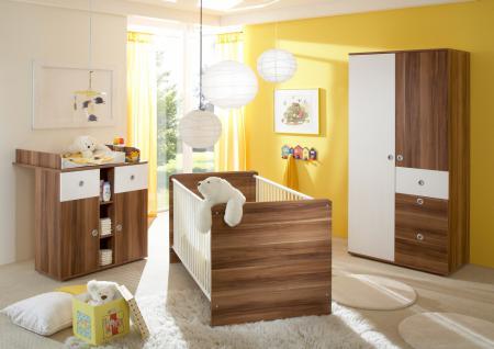 Babyzimmer komplett Lilli 3-teilig Walnuss Weiß