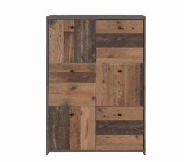 Highboard Beton-Holz Optik Chesto 6-türig