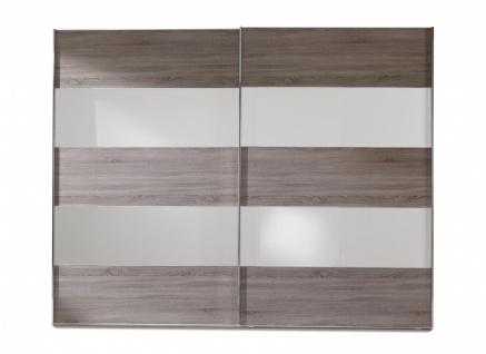 Schwebetürenschrank Genius in Trüffeleiche und Glas Weiß in 300 x 236 cm