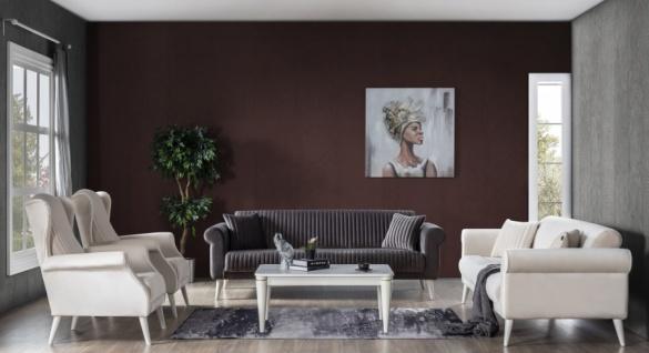Couch Set Gino 4-teilig mit Schlafsofa Grau/Creme