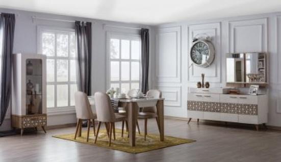 Komplettes Esszimmer Set 9-teilig Mansat Weiß