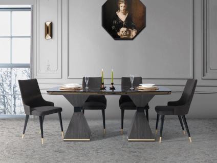 Esstisch mit 4 Stühlen Golf in Marmor Optik Anthrazit
