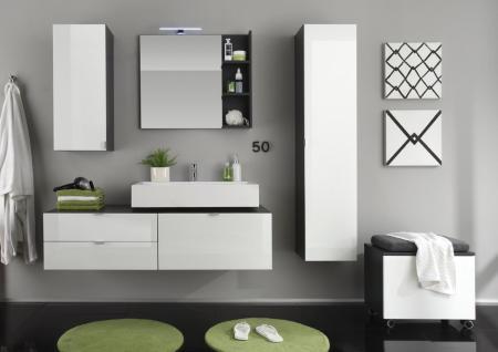 Badezimmer Set Jonte 4-teilig in Weiß Grau Hochglanz