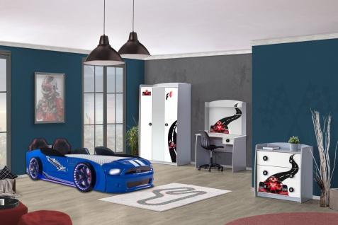 Autobettzimmer Must Rider Turbo 4-teilig in Weiß/Blau
