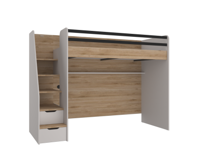 Hochbett New Options in Eiche Optik Beige mit USB