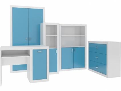 Jugendzimmer Set Phil in Blau Weiß