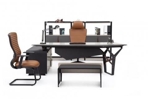 Ovali Büromöbel Set 4-teilig Skyline Schwarz Beige Links