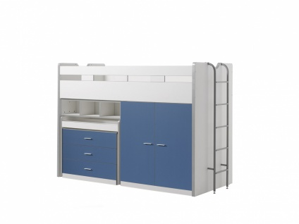 Bonny Hochbett mit Kleiderschrank 90x200 Blau