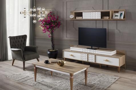 Wohnzimmer Set Venic in Weiß Holz Optik