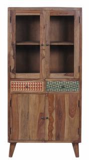 Vitrine Admiro mit 4 Türen aus Sheshameholz Natur