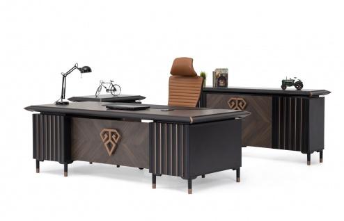 Ovali Schreibtisch Set 3-teilig Newark Schwarz Bronze
