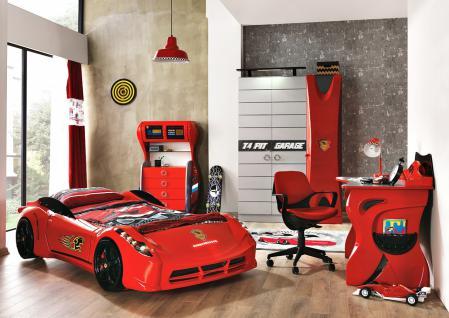 Autobett Jungenzimmer Cat Garage in Rot Hochglanz