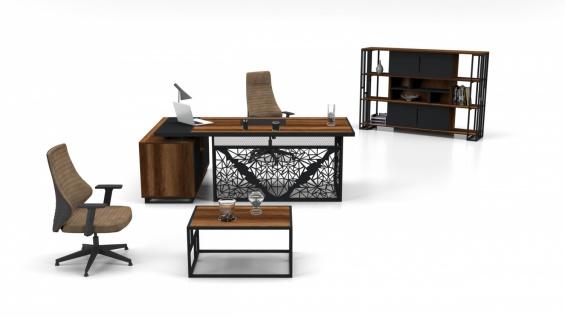 Büro Schreibtisch Set Kafes Holz Optik 3-teilig