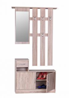 Garderobe Julia Sonoma 90 cm mit Spiegel und Wandgarderobe
