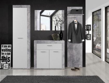 Garderoben Set Zeus in Betonoptik Lichtgrau / Weiß