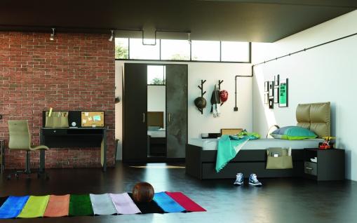 Jugendzimmer Set Novali Schwarz mit Bett