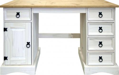 Schreibtisch Johny 140x48 Pinie massiv Weiß
