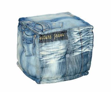Sitzwürfel Jeans mit Stoffbezug