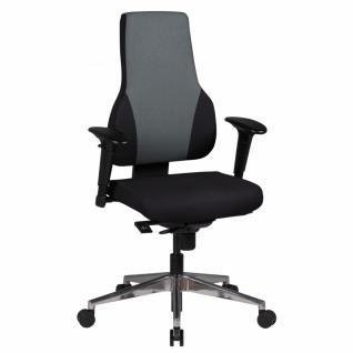 Bürostuhl Qentin schwarz/grau Stoffbezug Drehstuhl mit 3-Punkt Synchronmechanik