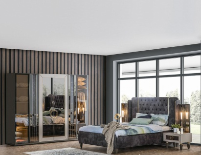 Weltew Schlafzimmer Set 160x200 cm Lizbon Grau