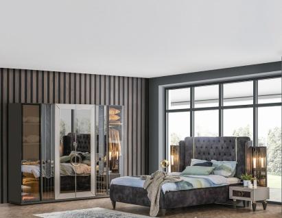 Weltew Schlafzimmer Set 180x200 cm Lizbon Grau