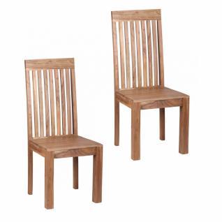 2er Set Esszimmerstühle Akazie Massivholz Doppelpack Stühle Hochlehner