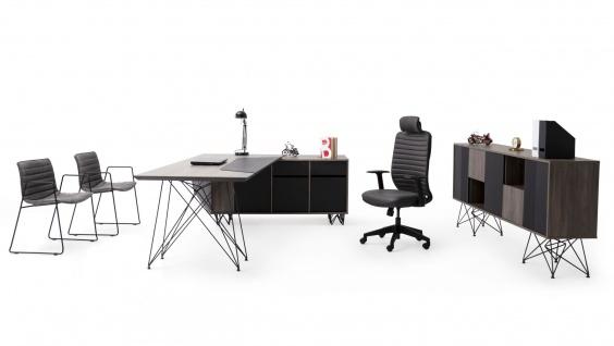 Ovali Büro Set 3-teilig Magnum Schwarz Holzoptik Links