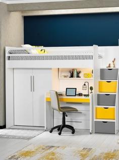 Almila Jugendzimmer Set Neo mit Hochbett in Weiß Gelb