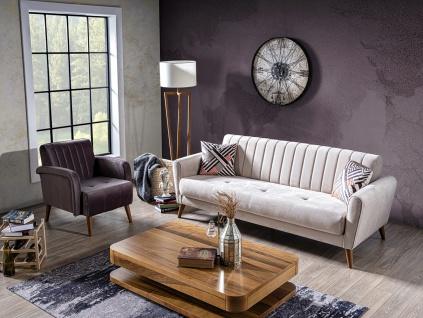 Sofa Garnitur Maya mit Schlafsofa in Nubukleder Optik