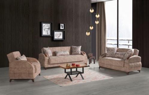 Sofa Garnitur mit Schlaffunktion in Beige Diva 3+2+1