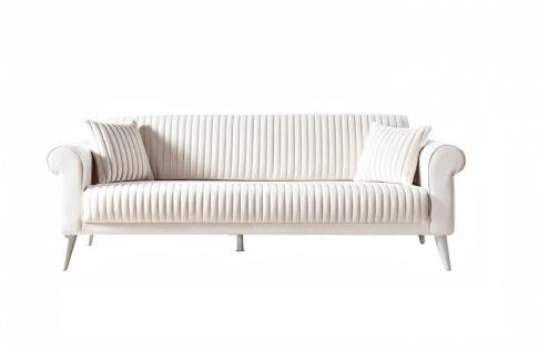 Sofa Gino mit verstellbarer Lehne 3-Sitzer in Creme