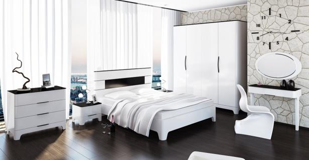 Schlafzimmer Set in Weiß mit Stauraumbett 8-teilig