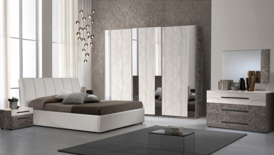 Schlafzimmer Set Lea in Beige/Walnuss 160x190